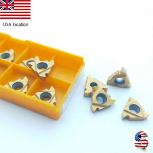 Us 10pcs 16ir Ag60 Carbide Inserts Lathe Threading Boring Bar Holder 16irag60