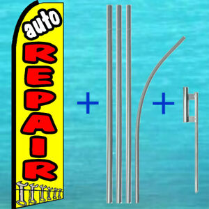 Auto Repair Flutter Flag Pole Mount Kit Advertising Feather Swooper Banner