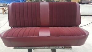 Reupholstered 67 79 Front Cab Ford F 150 Truck Bench Seat Burgandy Maroon