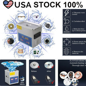 2l Liter Industry Heated Ultrasonic Cleaner Heater Stainless Steel W timer Us