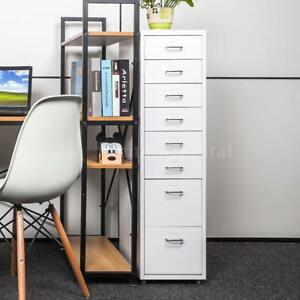 Office Filing Cabinet 8 Drawer Steel File Organizer Storage Cupboard White T4r8