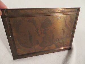 Vtg Etching Engraved Printing Machine Press Plate Stamp Bearded Tulip Blue