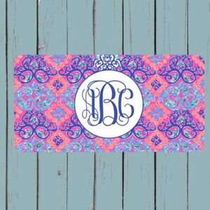 Monogram License Plate Car Tag Personalized Lilly Pulitzer Inspired Gift