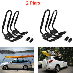 Universal 2 Pair Of Kayak Roof Racks J Bar Top Mount Car Suv Truck Black
