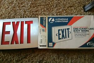 2 Lithonia Lighting Lqc 1 R Die Cast Led Exit Signs Red New In Boxes