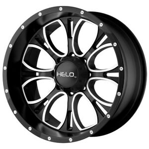 4 New 20 Inch 20x9 Helo He879 6x139 7 6x5 5 12mm Black Machined Wheels Rims