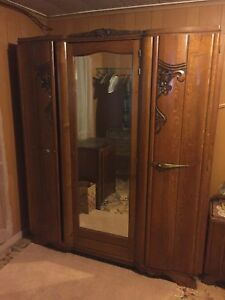 Antique French Art Deco Armoire Full Bed And Night Stand