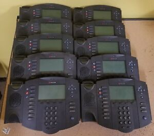 Lot Of 10 Polycom Soundpoint Ip550 Sip Voip Phones W Handset And Stand
