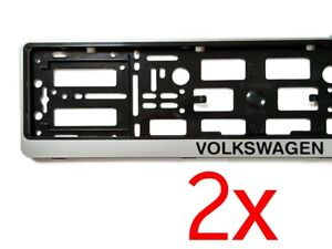 2x Silver Volkswagen Vw European Euro License Number Plate Holder Frame German
