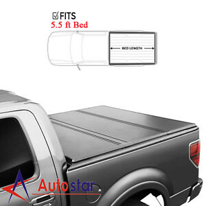 For 2004 2018 Ford F 150 Lock Hard Solid Tri Fold Truck Bed Tonneau Cover 5 5ft