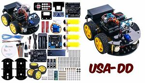 Arduino Project Smart Robot Car Kit Uno R3 Four Wheel Drives Ultrasonic Sensor