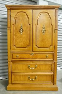Thomasville Large Tiger Maple Wood Wardrobe Armoire Linen Press Cabinet