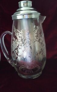Vintage Glass Sterling Silver Overlay Floral Water Pitcher Ice Caddy Icer