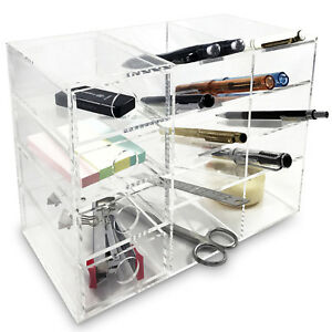 Ikee Design Acrylic 4 shelf Office Supply Organizer Storage Drawer Case