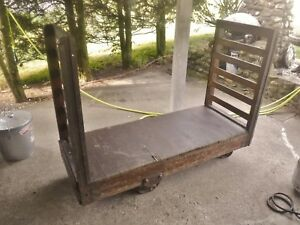 Nice Antique Wood Industrial Factory Cart 67x26 Cast Iron Wheels Kitchen Island