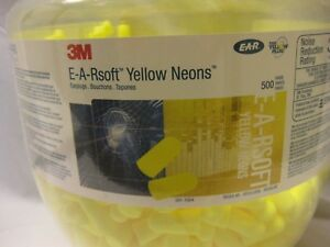 500 Pair 3m E a rsoft Yellow Neons One Touch Ear Plug Dispenser Refill Nrr 33