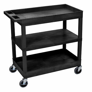 Luxor Black Plastic High capacity Flat Shelf Cart With Two Tubs