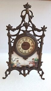 Rare Victorian Brass Table Clock Enamel Painted Scene
