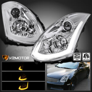 Fits 2003 2007 Infiniti G35 Coupe Hid Type Led Strip Projector Headlights Pair
