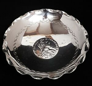 Silver Dish Sammy Sterling Inset Silver Coin Dated 1780