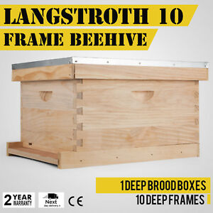 Langstroth 10 Frame Bee Hive W Frames No Wax Coated Plastic Foundation