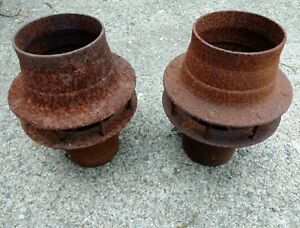 Pair 2 Antique Vintage Wagon Wheel Hubs Horse Carriage