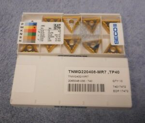 Seco Carbide Inserts Tnmg 432 mr7 Pack Of 10 Grade Tp40