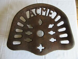 Vintage Very Rare Acme Cast Iron Tractor Seat Some Damage Lot 18 42 20
