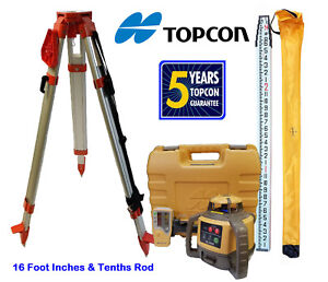 New Topcon Rl h5a Rotary Laser Level With Tripod And 16 Foot Rod Inch