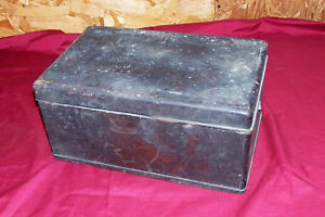 Antique Civil War Wooden Box With Bullet Fragment Old Wood Primitive Chest Army