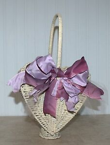 Vintage White Wicker Basket Heart Shape Antique Chippy Paint Victorian Style