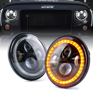 Xprite 7 90w Philips Led Drl Headlight W Halo Ring For 1997 2018 Jeep Wrangler