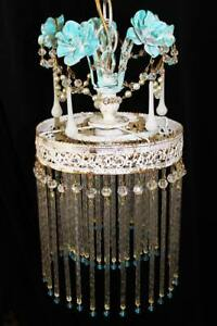 8 X 14 Turquoise Blue Rose Vintage Crystal Swizzle 1 Light Chandelier