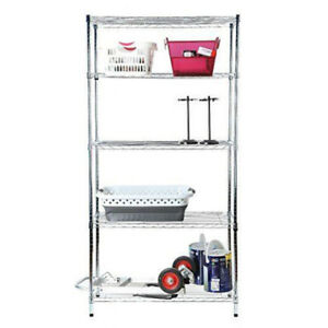Chrome 72x36x16 5 Tier Shelf Adjustable Wire Metal Shelving Rack Tidy Living