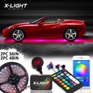 Rgbw Car Under Body Neon Accent Glow Led Lights Kit Bluetooth Wireless Remote