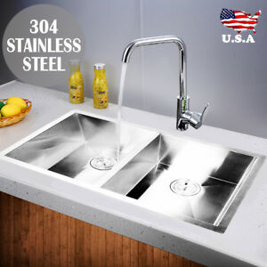 Commercial 30 x18 Stainless Steel Kitchen Sink Double Bowl Undermount 18 Gauge