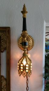 Unusual Vintage Gilded Wall Sconce With Crystals Chain