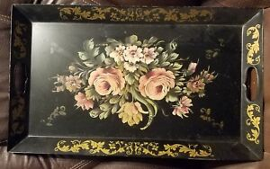 Antique Large Toleware Hand Painted Tray
