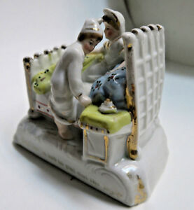 Antique Porcelain Staffordshire Faring Figurine Last In Bed To Put Out The Light