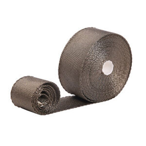 1 Roll X 2 Titanium 50ft Manifold Exhaust Header Heat Wrap Tape 6 Ties Kit