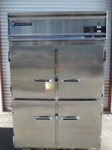 Victory Stainless Steel Full Size Solid 4 Half Door Reach In Refrigerator Cooler