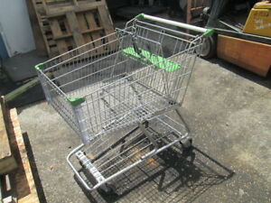 Large Wire Frame Metal Grocery Shopping Cart Green Store Basket Buggy