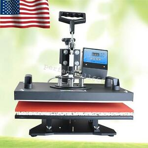 8 In 1 Heat Press Machine Digital T shirt Mug Plate Transfer Sublimation Usa ca