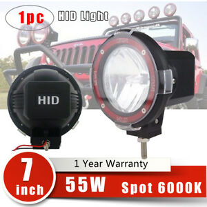 7 Inch 55w 6000k Hid Xenon Work Light Spot Beam Off Road Atv Tractor Boat Truck
