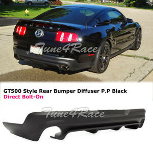 For 2010 2012 Ford Mustang Rear Lower Diffuser Gt500 Black Valance Body Kit Pp