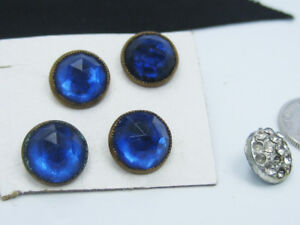 4 Antique Old Brass Facet Cut Blue Glass Rhinestone Shirt Buttons On Card 1