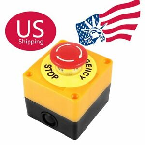 Red Sign Mushroom Emergency Stop Push Button Switch Station 1 No 1 Nc Us
