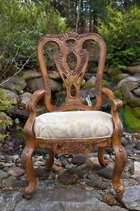 Schnadig Ornately Hand Carved French Rococo Louis Xv Style Upholstered Arm Chair