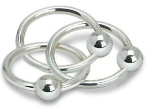 Triple Ring Baby Rattle In Sterling Silver Made By Cunill Brand New In Box