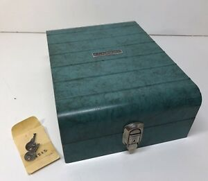 Vintage Sears Roebuck Co Tower Brand Marbled Turquoise Locking File Box W keys